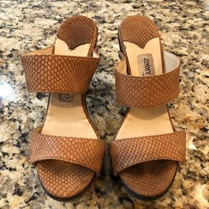 Jimmy Choo Embossed Wooden Sandals